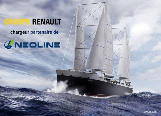 O Grupo Renault celebrou uma parceria de três anos com a start-up NEOLINE para desenvolver um serviço de transporte marítimo mais sustentável movido a energia eólica